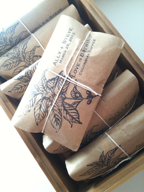 COFFEE BEANS! A personalised wedding blend. This could be a favor at any party