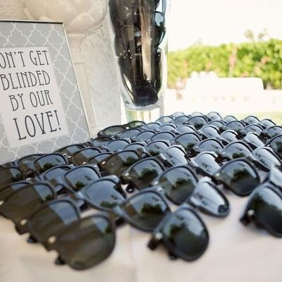Sunglasses for outdoor weddings - custom made with bride and grooms initials of course.