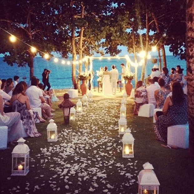 3 Ikea Outdoor Wedding Ideas   White Lanterns With Candles And Stringlights  Form A Breathtaking Wedding