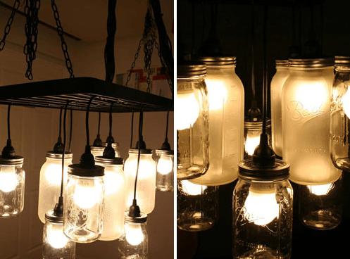 Ceiling-mounted utensil rack, and handful of Hemma-Black cords with mason jar lights