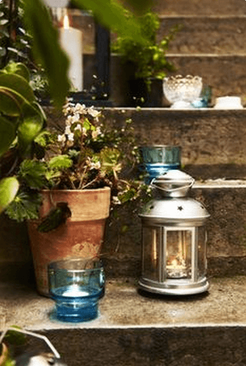 IKEA Wedding Ideas - A candle lit path adds a magical feeling to an outdoor wedding celebration. Use assorted candles, votives, and lanterns for an extra personal touch.