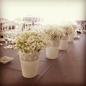IKEA decorative pots with gypsophila as table decoration
