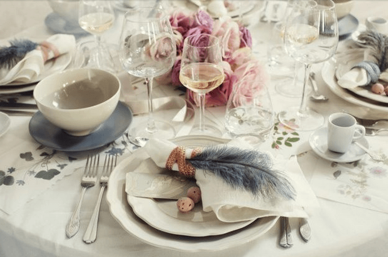 IKEA tableware and glassware-mixed and matched to enchanting effect.