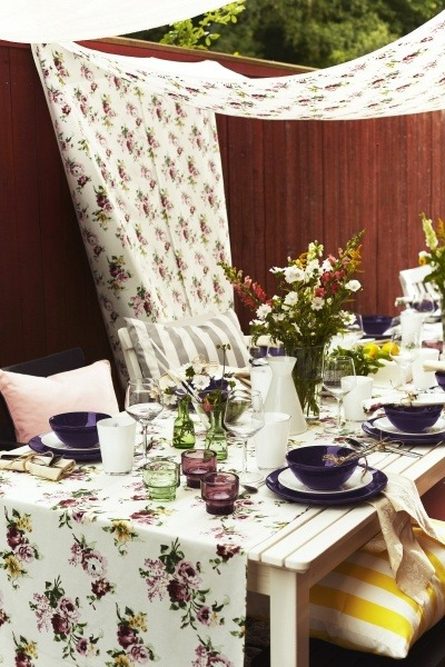 Ikea USA - Colorful fabrics and dinnerware make a perfect tablescape for outdoor dining.