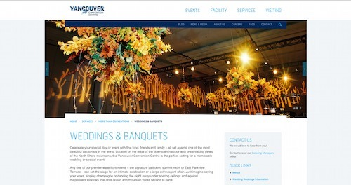 Vancouver Convention Centre Wedding Venues Lower Mainland