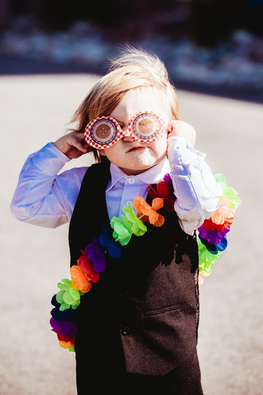 Kid dressed up at Kelowna Wedding Photobooth