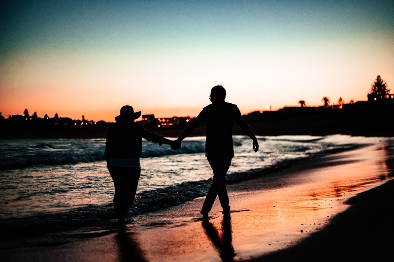 sunset silhouette at manly beach engagement photo session
