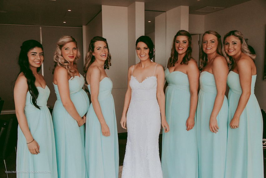 bride and bridesmaids - seafoam wedding color palette beach wedding