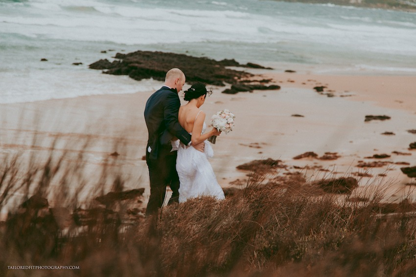 beach wedding photography ideas - walking on the reef
