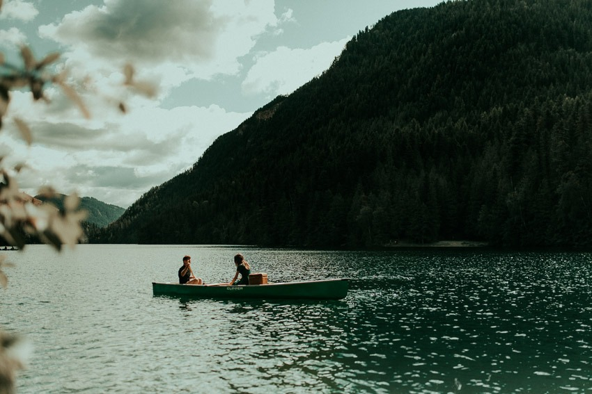 Rocky Mountain Lake Wedding Proposal in a Canoe - Engagement in the Rocky Mountains