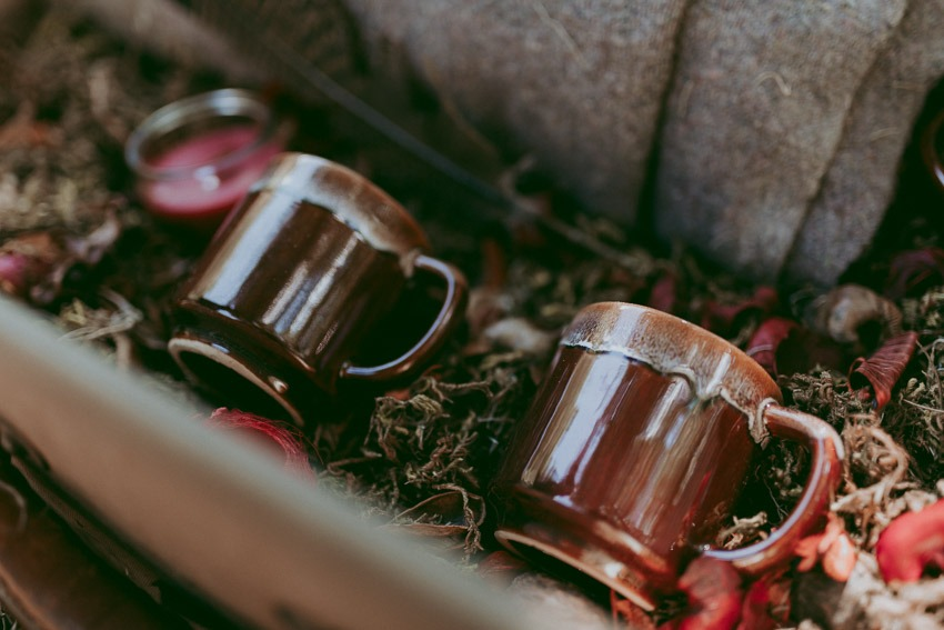 Teacups in moss - Forest engagement photos - Rocky Mountain Wedding Proposal Engagement Session