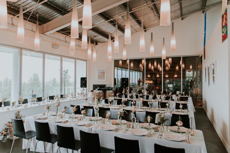 the reception setup from the wedding reception at tantalus winery - 1670 DeHart Rd, Kelowna, BC V1W 4N6