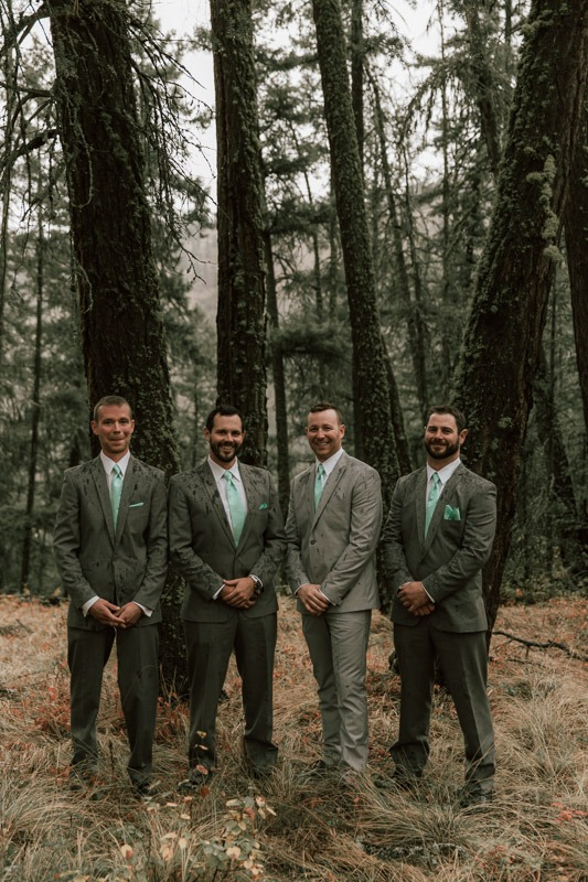 groomsmen portraits in the forest - forest wedding in the woods and trees