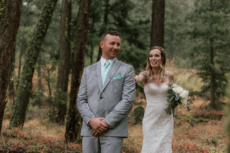 first look photos! amazing first look - forest wedding in the woods and trees