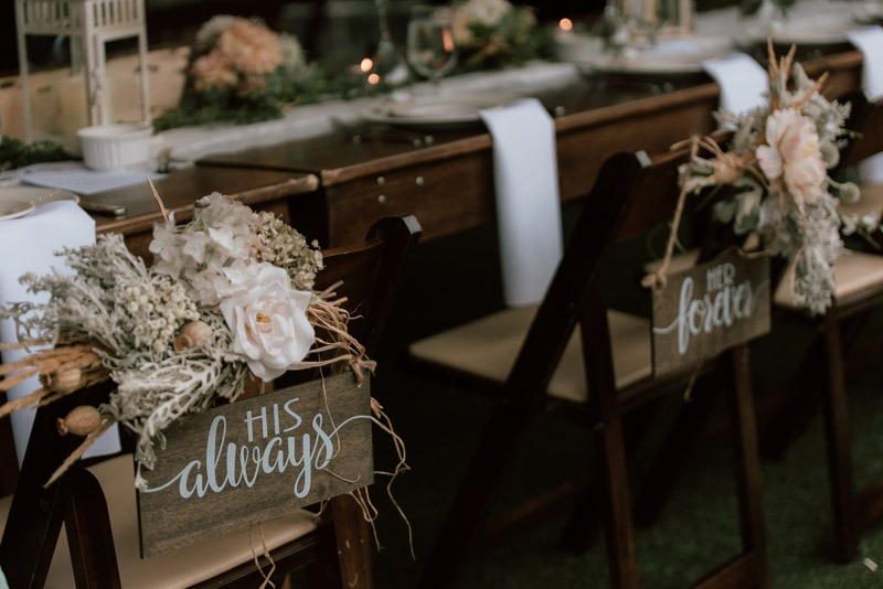 her forever his always his and hers weddings signs - durali villa wedding reception in vernon bc outdoors details