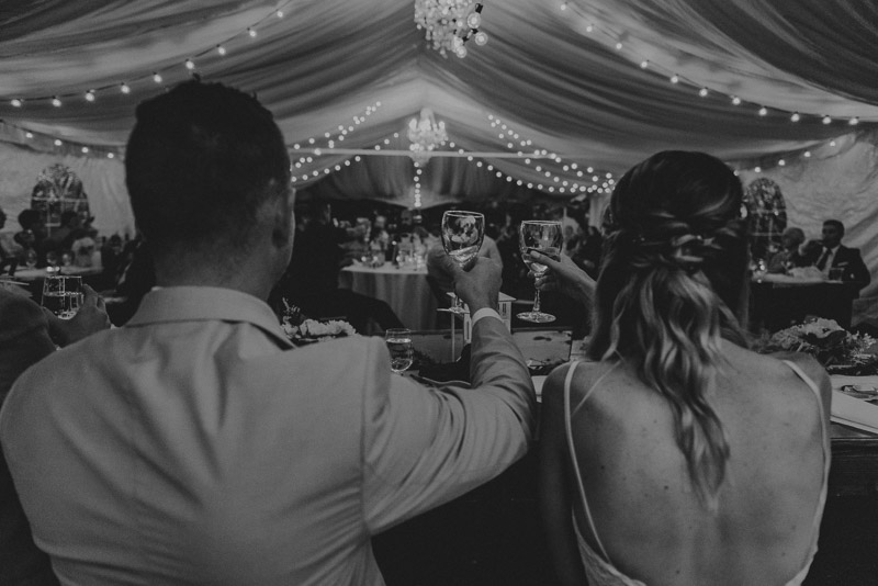 bride and groom toasting at reception black and white - durali villa wedding reception in vernon bc outdoors details