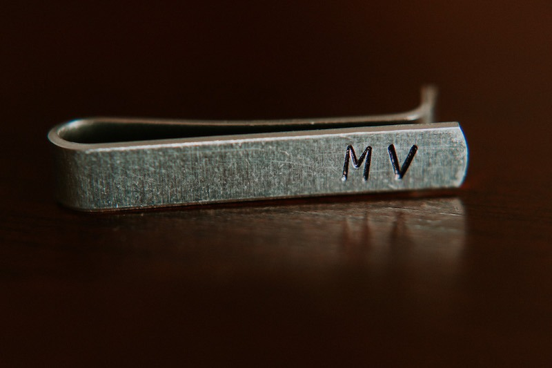 Grooms custom initial tie bar