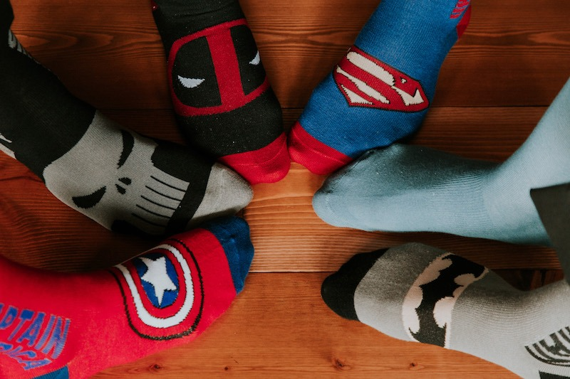 Groomsman special wedding socks - shark wedding socks, superhero wedding socks for the boys