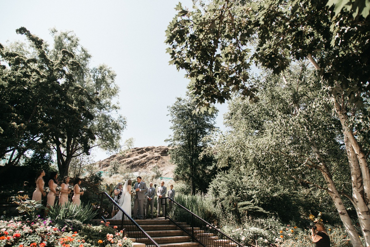 wedding ceremony at tru horticultural gardens - thompson river university kamloops wedding