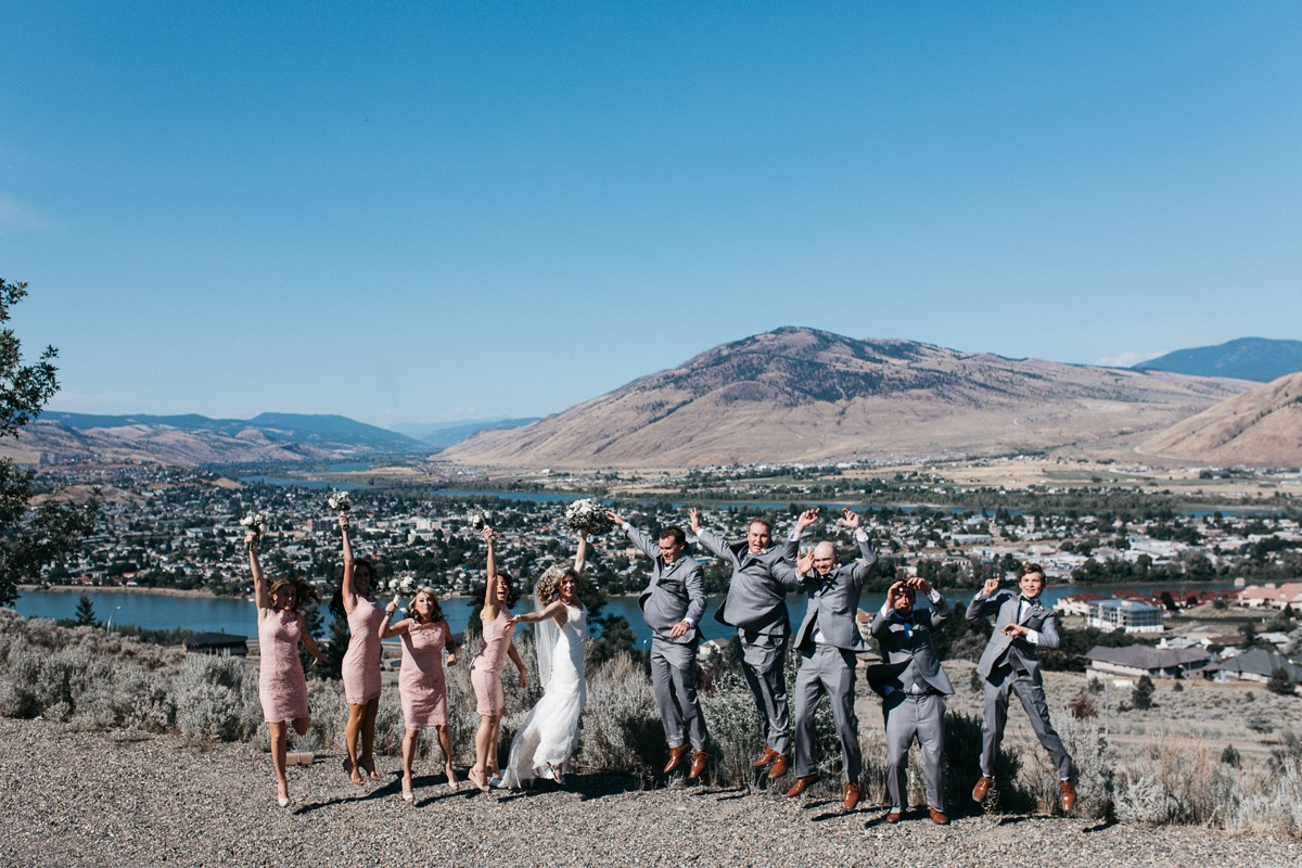 wedding photos of the view of kamloops okanagan valley from tru thompson river university