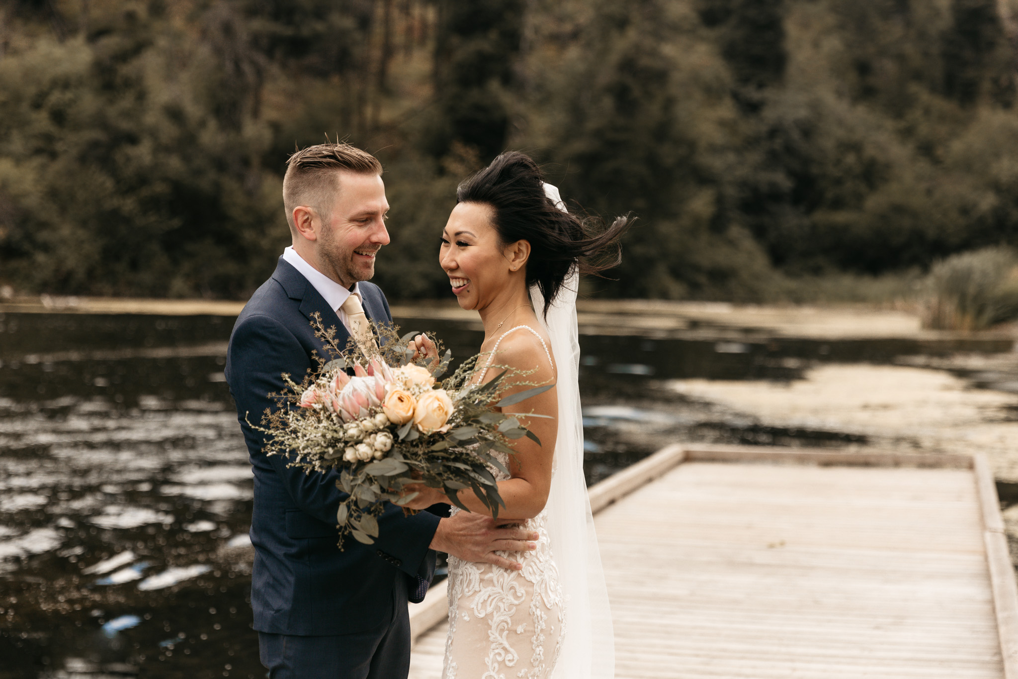 Grist Mill Wedding in Naramatta with photoshoot on the lake in the forest