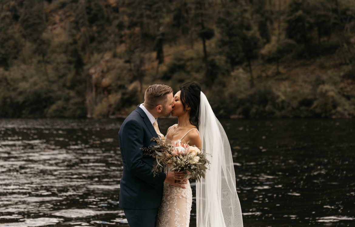 Wedding Photoshoot on the lake near grist mill in naramatta